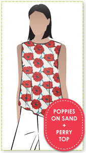 Perry Top + Sand Poppy Woven Fabric Sewing Pattern Fabric Bundle By Style Arc - Asymmetrical sleeveless top with side split bundled with Poppy woven fabric.