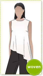 Perry Woven Top Sewing Pattern By Style Arc - Asymmetrical sleeveless top sewing pattern with side split