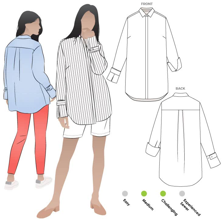 Phoebe Overshirt Sewing Pattern By Style Arc - Man-style over shirt with a designer cuff.