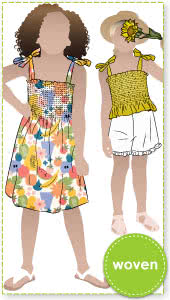 Pippa Kids Dress and Top By Style Arc - Shirred sundress and top, with shoulder ties for kids in sizes 2-8.