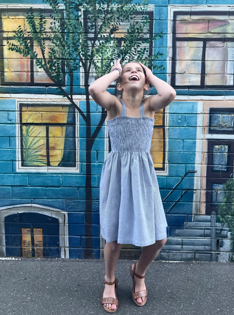 Pippa Teens Dress and Top By Style Arc - Shirred sundress and top, with shoulder ties for kids in sizes 8-16.