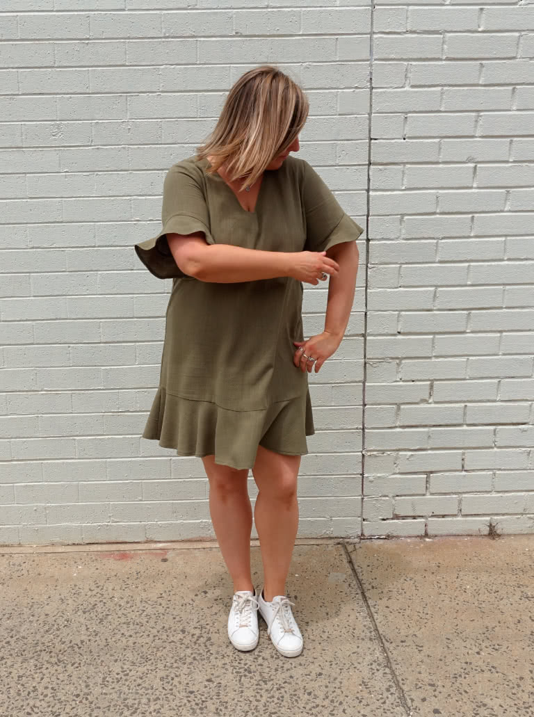 Pixie Woven Dress By Style Arc - Shift dress with short sleeve and hem flounces