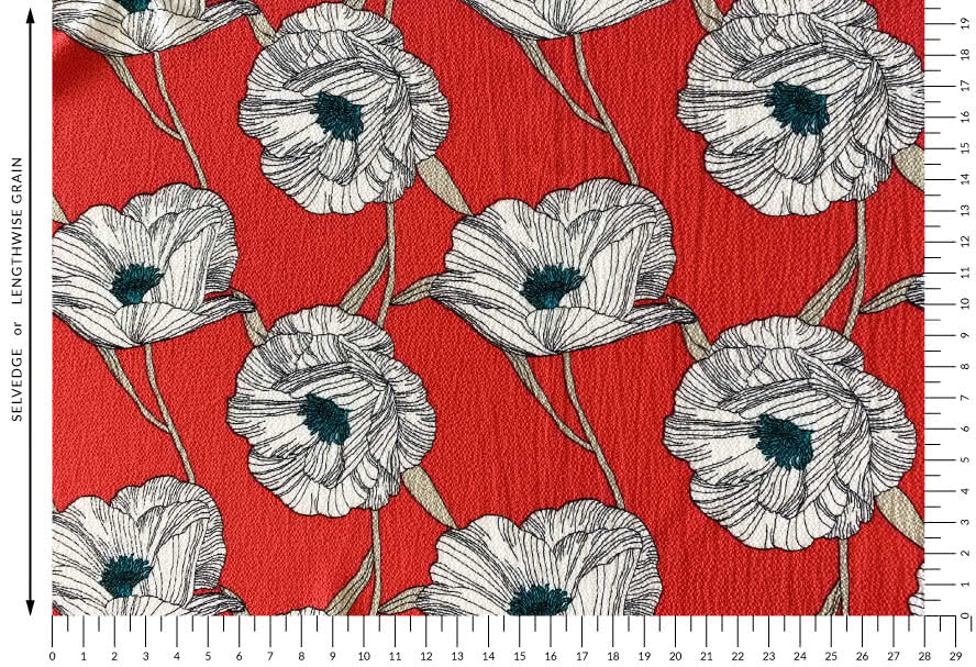 Poppy Woven Fabric - Coral By Style Arc - Beautiful poppy print floral fabric ideal for a variety of tops or dresses.