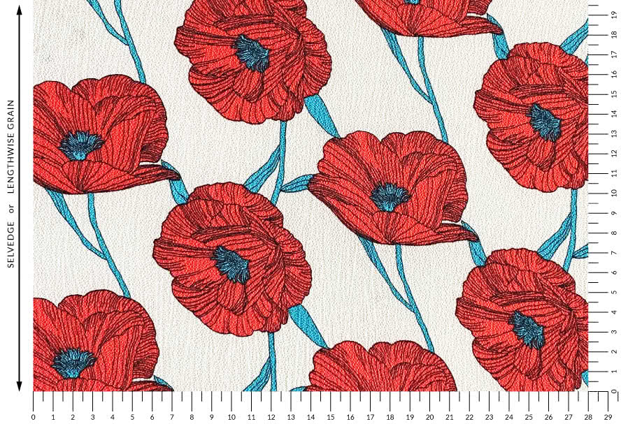 Poppy Woven Fabric - Sand By Style Arc - Beautiful poppy print floral fabric ideal for a variety of tops or dresses.