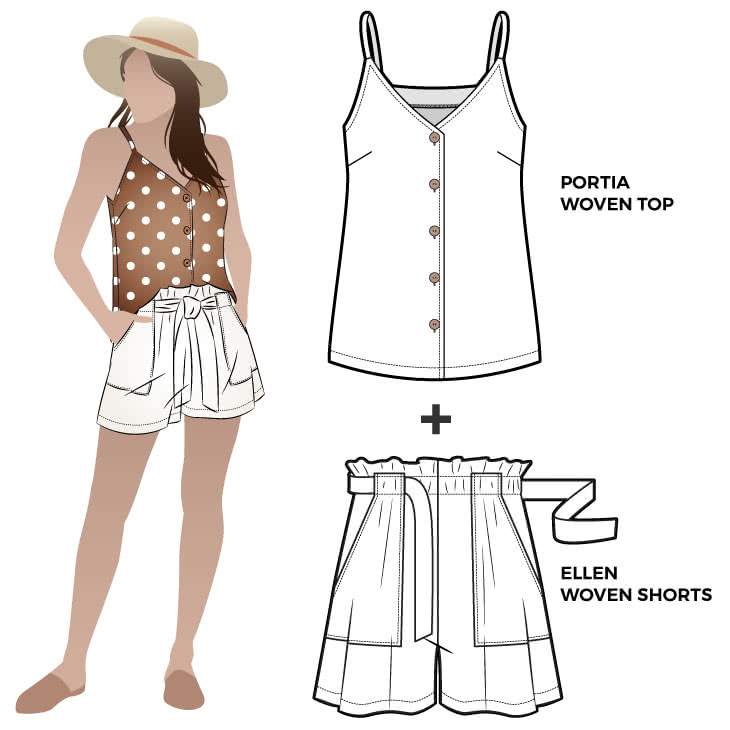 Portia and Ellen Discounted Pattern Bundle Sewing Pattern Bundle By Style Arc - Discounted sewing pattern bundle for a woven top and short outfit. The short features a paper-bag elastic waist. The top is a gorgeous woven cami.