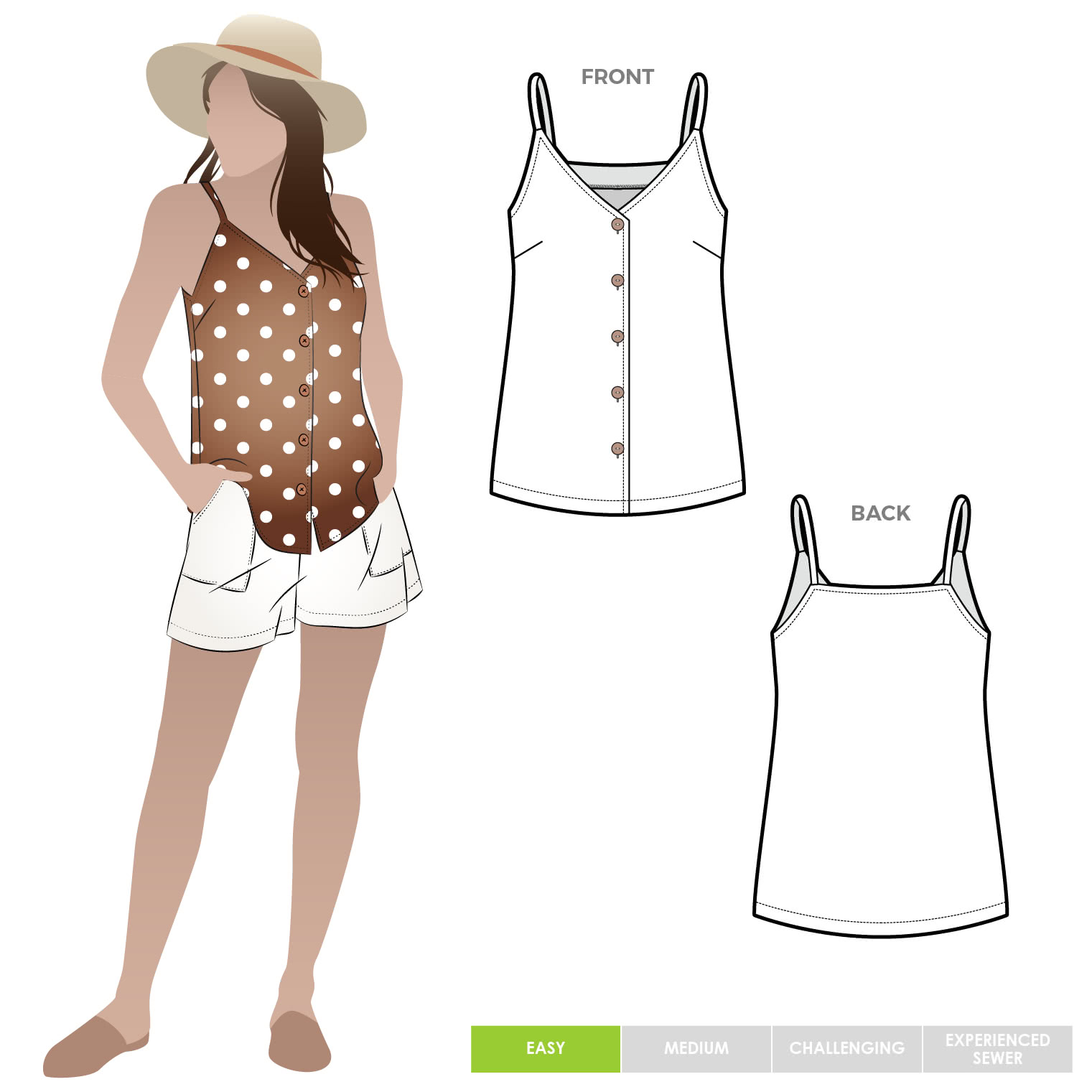 Portia Woven Top By Style Arc - Woven button through cami sewing pattern