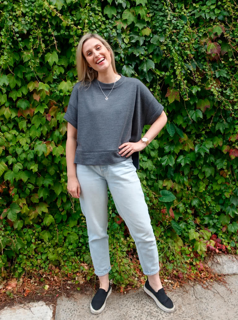 Portsea Luxe Sweat By Style Arc - Square shaped, easy fit, rolled cuffed short sleeved sweatshirt with hi-low hemline.