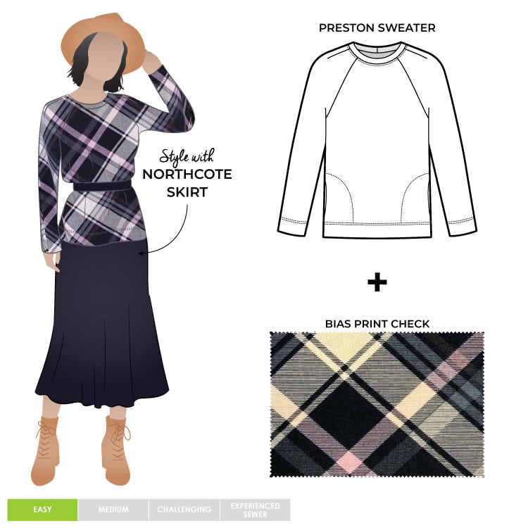 Preston Knit Sweater and Burb Check Fabric Sewing Pattern Fabric Bundle By Style Arc