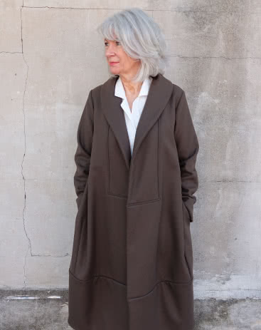 Rana Designer Coat By Style Arc - Designer coat with an interesting shaped silhouette and two collar options, wrap front and inseam pockets.
