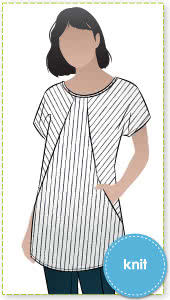 Reece Knit Tunic By Style Arc - Tunic style featuring a round neck and angled design lines with in seam pockets.
