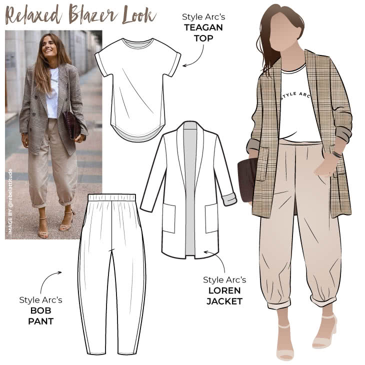 Relaxed Blazer Look Sewing Pattern Bundle By Style Arc - Up your casual dressing game with our latest discount pattern bundle that includes the Bob Woven Pant, Loren Jacket and Teagan Knit Top.