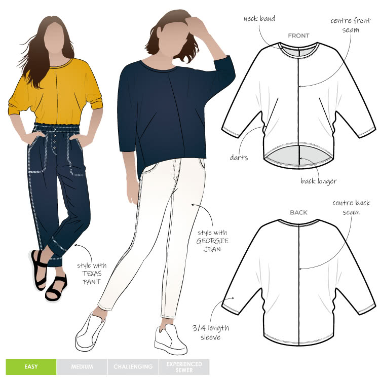 Rhea Knit Top By Style Arc - Basic knit top with elbow length dolman sleeve.