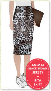Rita Skirt + Animal Black Brown Jersey Knit Fabric Sewing Pattern Fabric Bundle By Style Arc