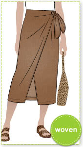 Rona Wrap Skirt By Style Arc - Pull on calf length faux wrap skirt.