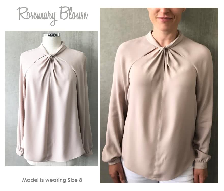 Rosemary Blouse Sewing Pattern By Style Arc - Elegant twist neck blouse with raglan sleeve