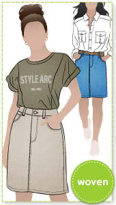Sally Jean Skirt Sewing Pattern By Style Arc - Great knee length jean/denim skirt