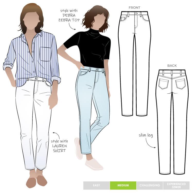 Sandra Narrow Leg Jean Sewing Pattern By Style Arc - Fashionable narrow leg woven jean