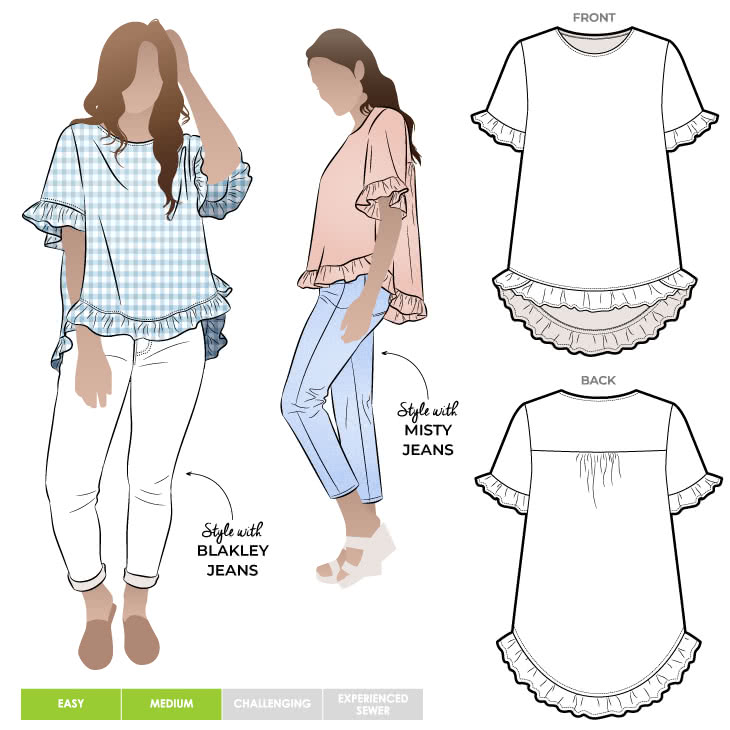 - Click for Other Sizes Available Almy Woven Top Style Arc Sewing Pattern Sizes 04-16