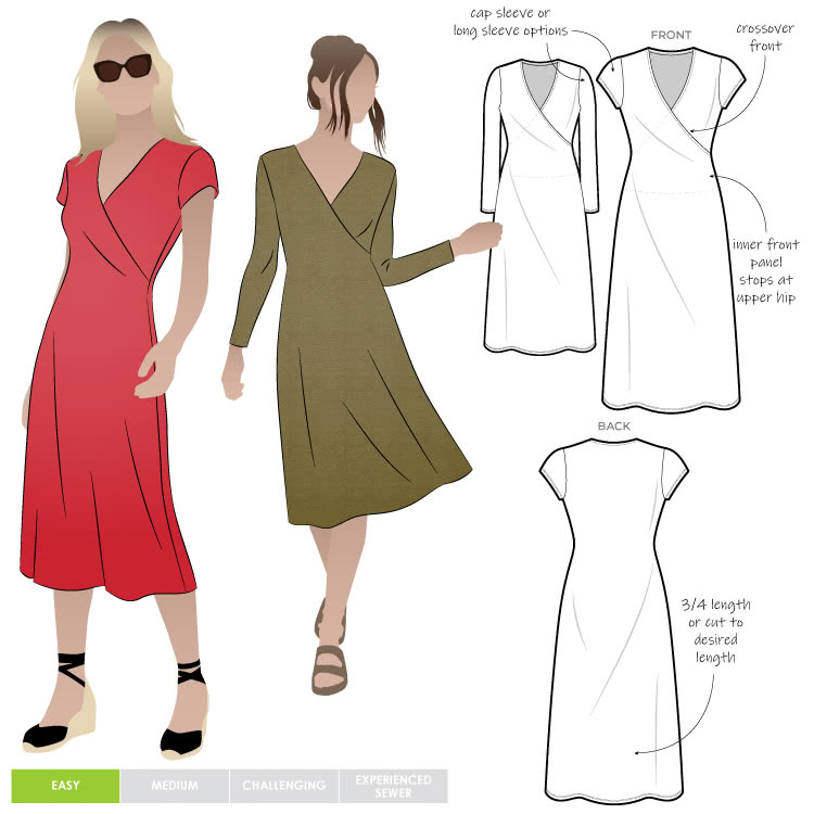 Slip-On Suzie Sewing Pattern By Style Arc - Jersey faux wrap dress with cap and long sleeves