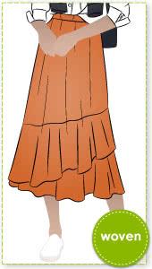 Sorrento Skirt By Style Arc - Women's Slip on elastic waist skirt with asymmetrical flounces