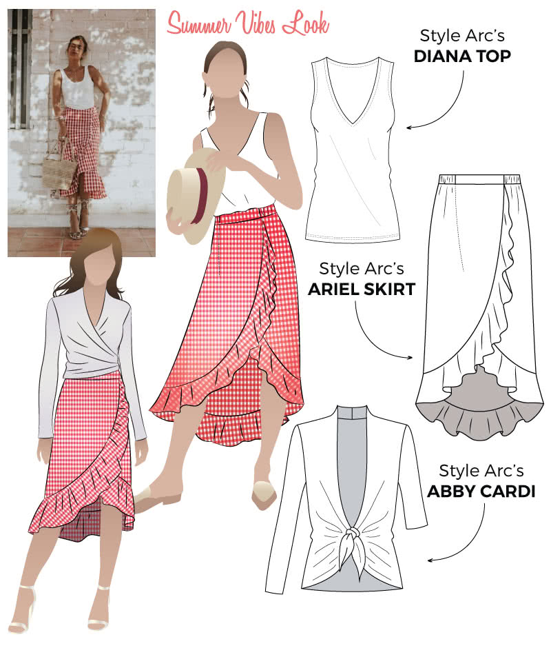 Summer Vibes Look Sewing Pattern Bundle By Style Arc - Get this summer vibes look in a discounted three-pattern bundle which includes the Diana Top, Ariel Wrap Skirt and Abby Cardi.