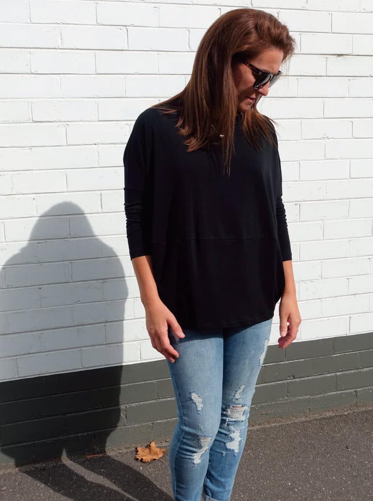 Sunny Top + Black Dry Knit Crepe Fabric bundle
