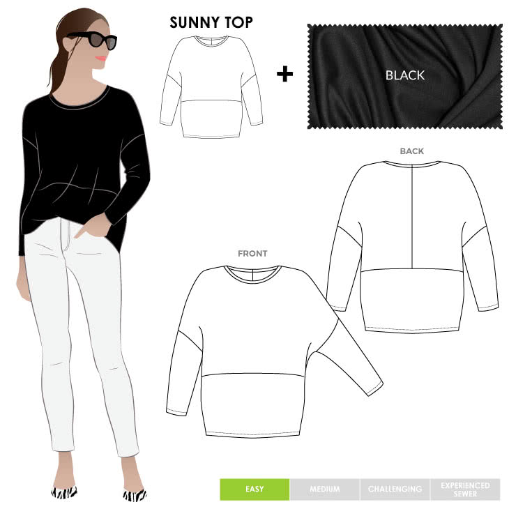 Sunny Top + Black Dry Knit Crepe Fabric Sewing Pattern Fabric Bundle By Style Arc