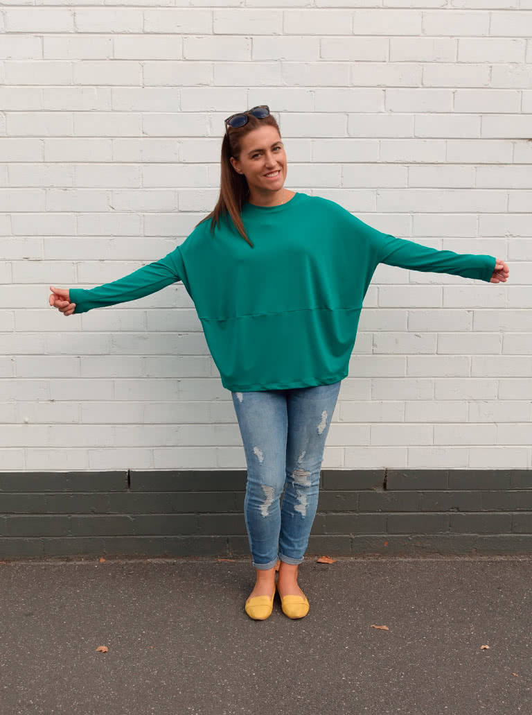 Sunny Top + Jade Dry Knit Crepe Fabric bundle