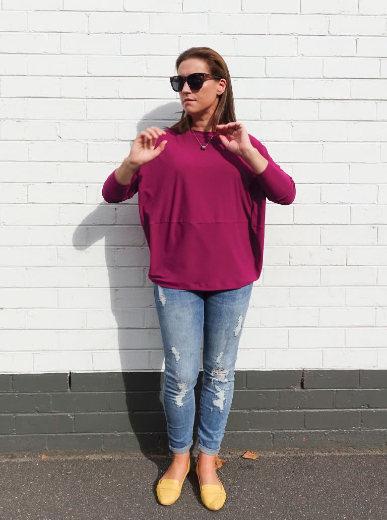 Sunny Top + Magenta Dry Knit Crepe Fabric bundle