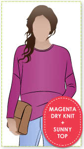 Sunny Top + Magenta Dry Knit Crepe Fabric Sewing Pattern Fabric Bundle By Style Arc
