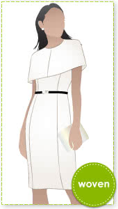 Sussex Cape Dress Sewing Pattern By Style Arc - Classic lined dress with separate lined cape