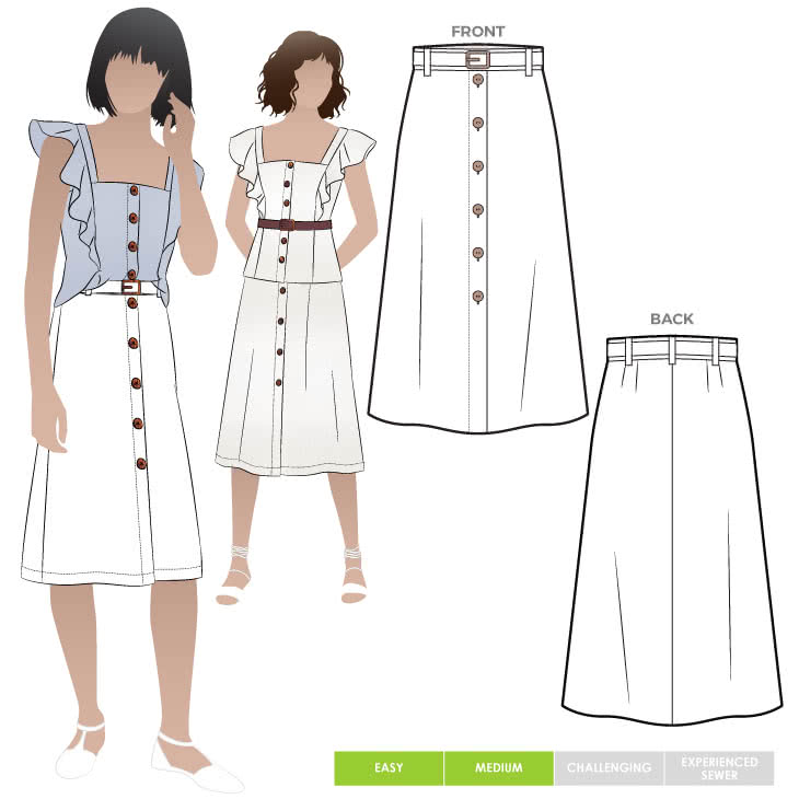 Sutton Woven Skirt Sewing Pattern By Style Arc - Button through skirt with belt.
