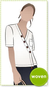 Sutton Woven Top Sewing Pattern By Style Arc - Boxy shaped top with asymmetrical button closure.