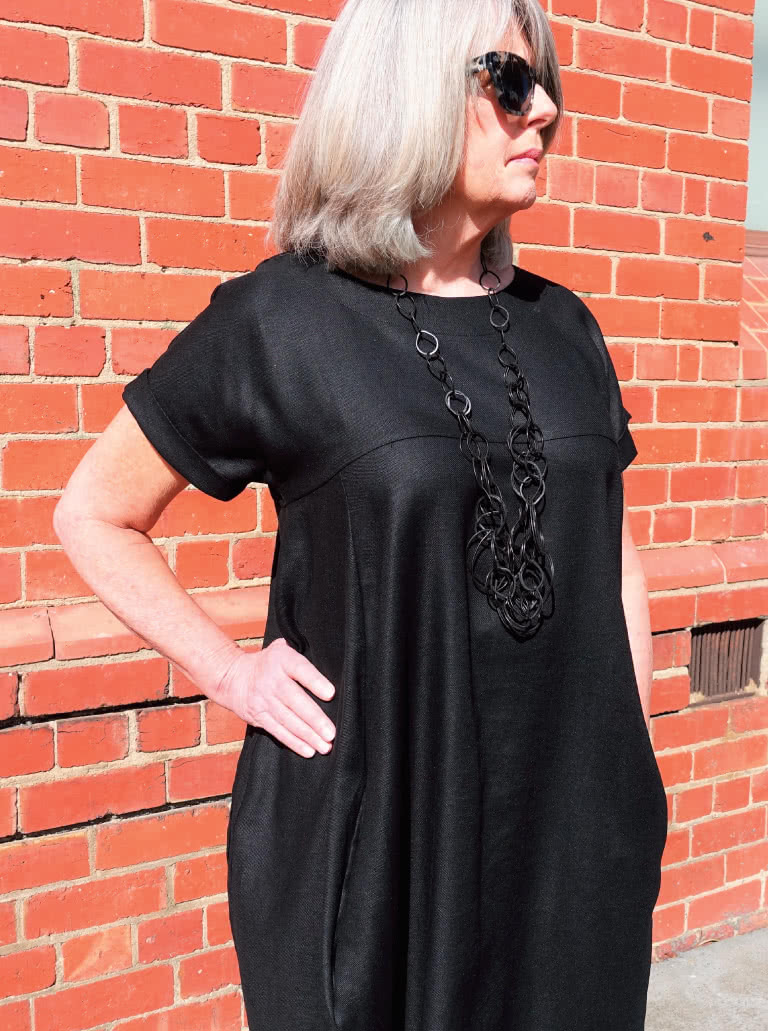 Sydney Designer Dress By Style Arc - Designer dress featuring a full cocoon shape, in seam pockets and a high low hemline.