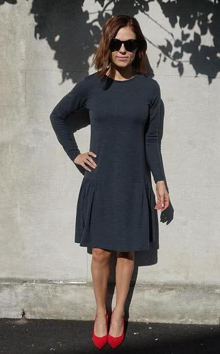 Talulah Knit Dress Sewing Pattern By Style Arc - Simple knit dress sewing pattern with long sleeves and side gathers.
