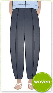 Teddy Designer Pant Sewing Pattern By Style Arc - Designer pant featuring a front knife pleat which narrows at the ankle.