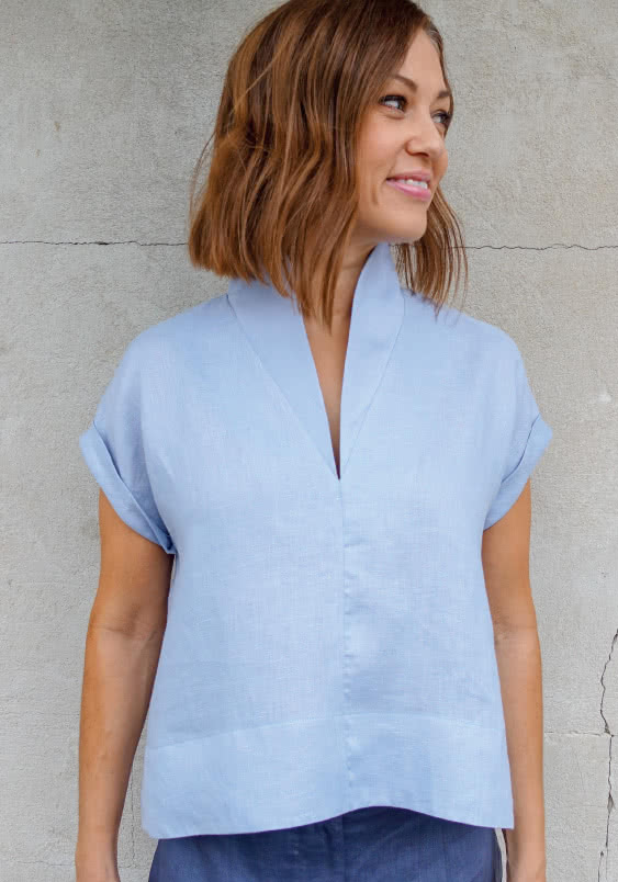 Teddy Designer Top Sewing Pattern By Style Arc - Swing back top with flattering collar and hem facings.