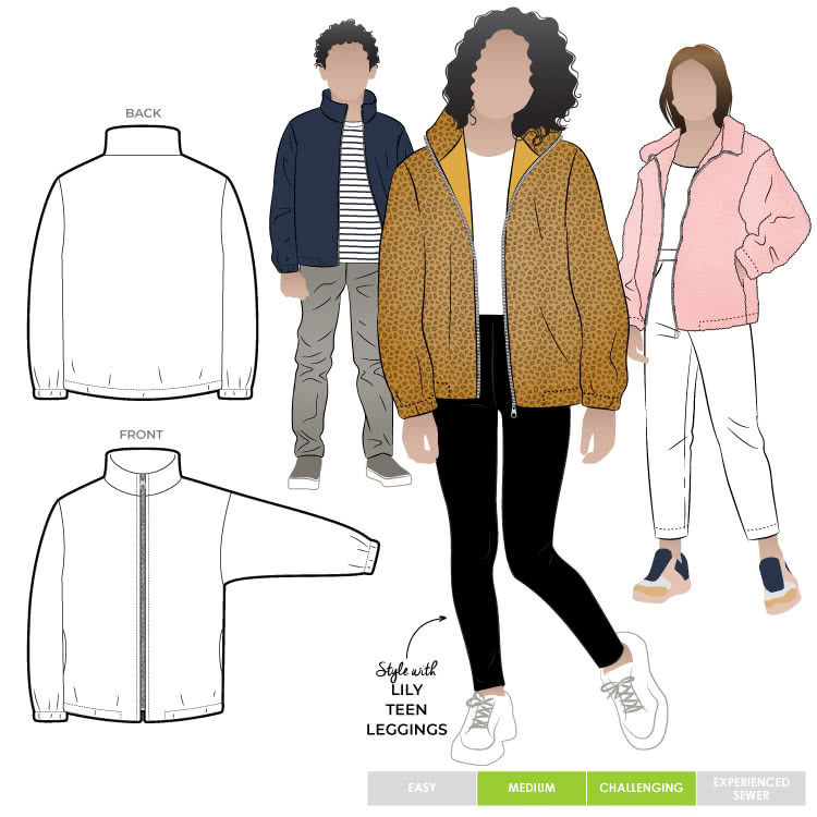 Teddy Teens Jacket By Style Arc - Easy fit zip front jacket with stand collar and encased elastic in the hem and sleeves, for teens 8-16.