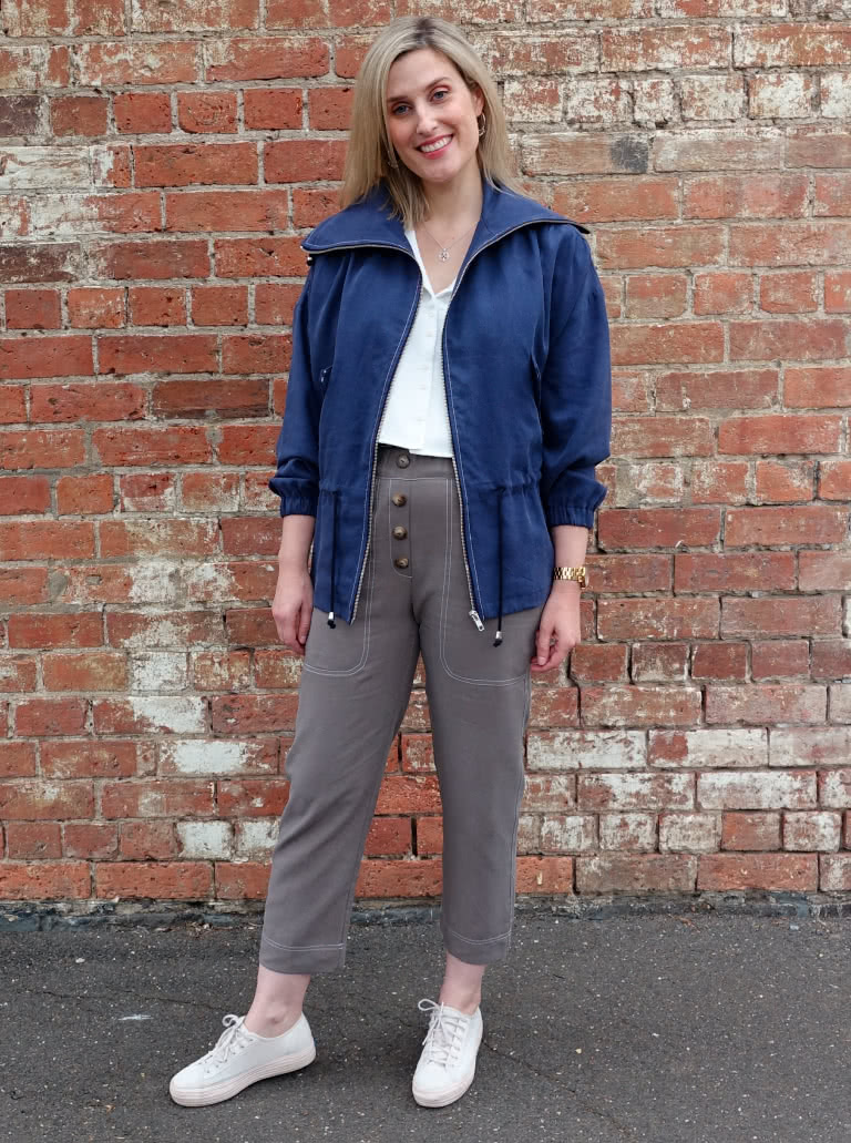 Texas Pant By Style Arc - Elastic waist pant with pockets and faux fly.