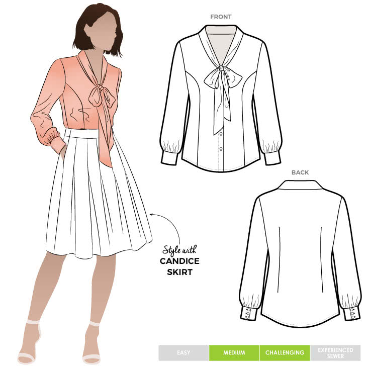 Tiffany Blouse Sewing Pattern By Style Arc - Princess line, long sleeved blouse with a tie neck