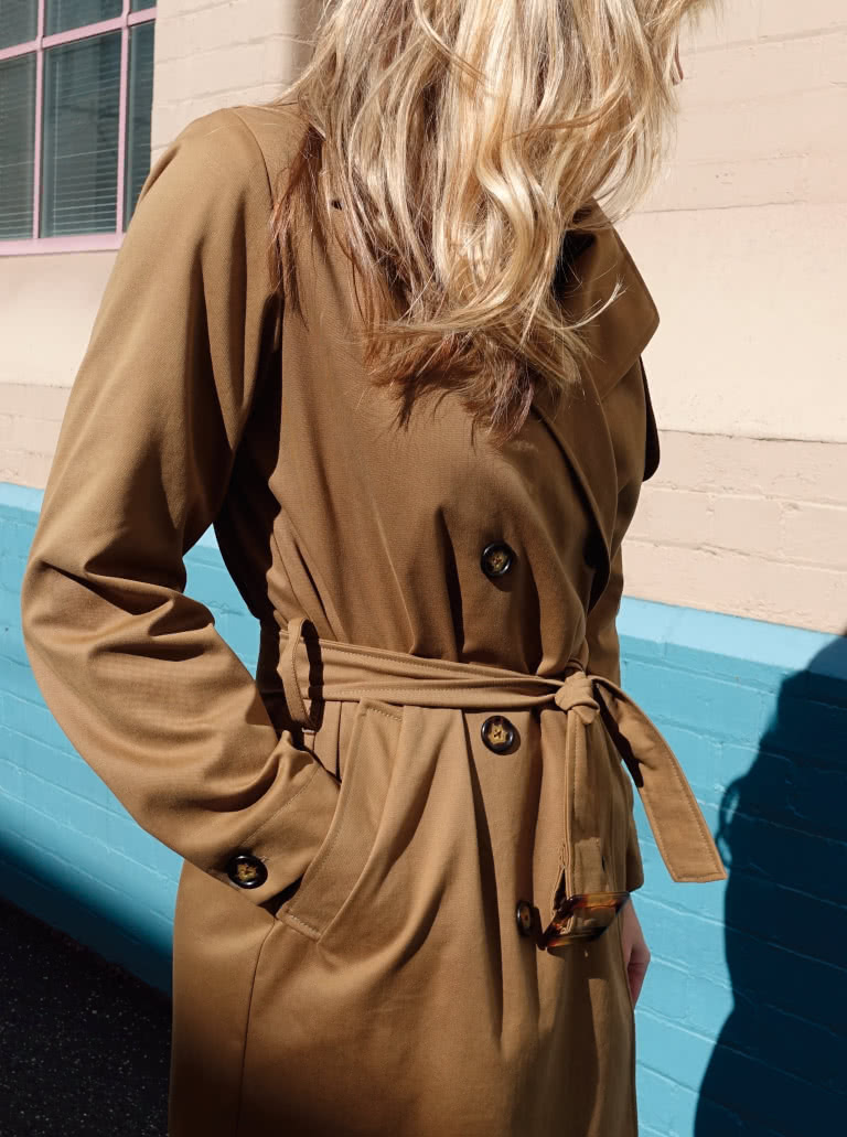 Tracy Trench Coat By Style Arc - Casual classic double-breasted unlined trench coat featuring welted pockets chest flap and belt.