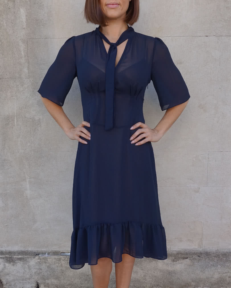 Valentina Dress Sewing Pattern By Style Arc - Mid-length feminine dress with a bias cut slip pattern.