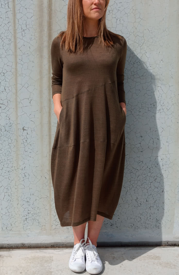 Venice Knit Dress Sewing Pattern By Style Arc - Cocoon shaped knit dress with angled seams, long sleeves and slit pockets.