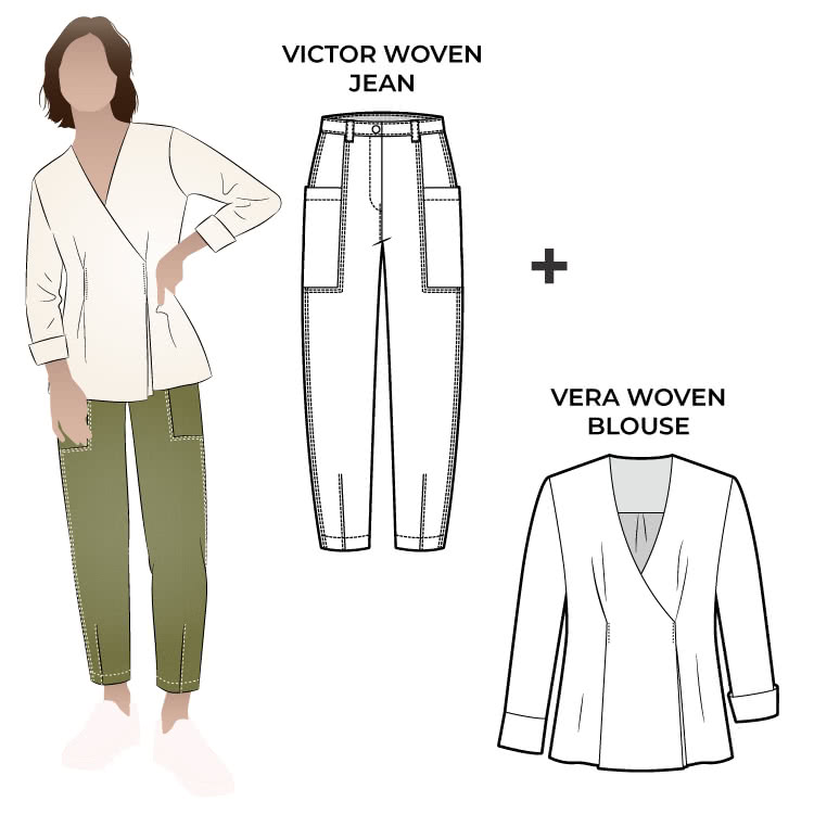 Vera & Victor Bundle By Style Arc - Engineered jean with unique top stitch and pocket details paired with soft wrap blouse unique stylish outfit.