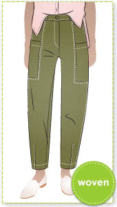 Victor Woven Jean By Style Arc - A new jean shape that sits high on the waist with patch pockets set into the design lines.