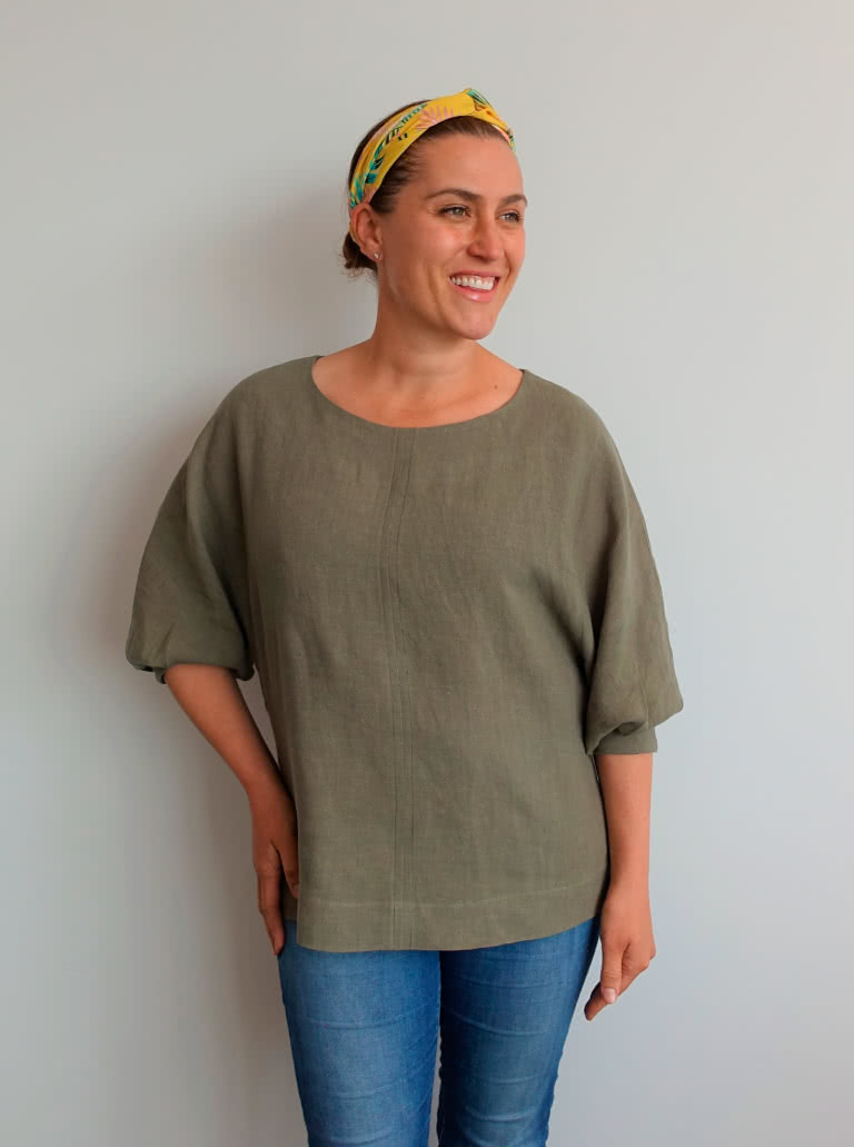 Wilma Woven Top By Style Arc - Square shaped slip on top featuring a gusseted dolman sleeve.