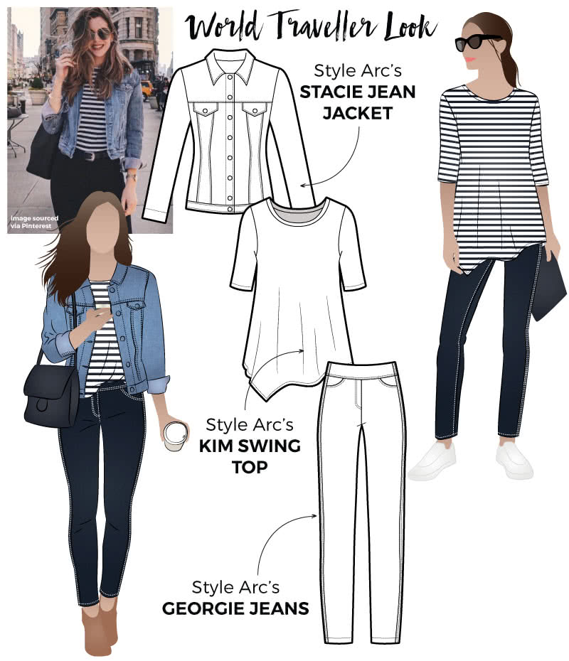 World Traveller Look Sewing Pattern Bundle By Style Arc - Get your jet-setting look with this discounted bundle, featuring Stacie Jean Jacket, Kim Swing Top and Georgie Stretch Woven Pant.
