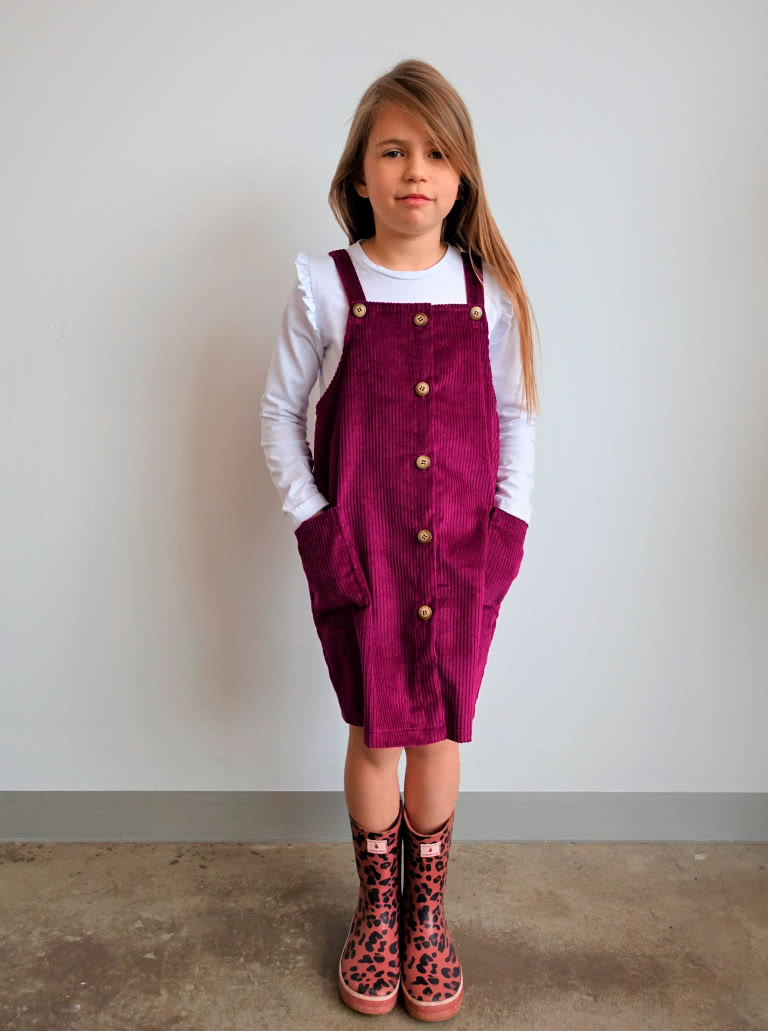 Zoe Kids Pinafore By Style Arc - Slight A-line kids pinafore – wear with a T-shirt for summer or layer with a skivvy and jumper for winter